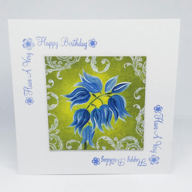 Bluebell hand painted birthday card.