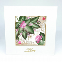 Hand painted pink rose bud card.