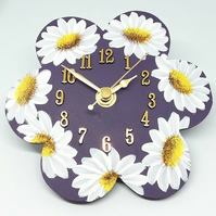 Hand painted daisy Clock Purple