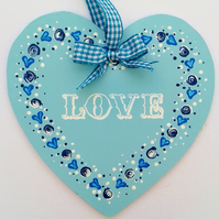 Love heart - hand painted hanging decoration