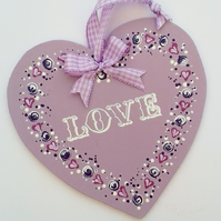 Love heart - hand painted hanging decoration in lilac