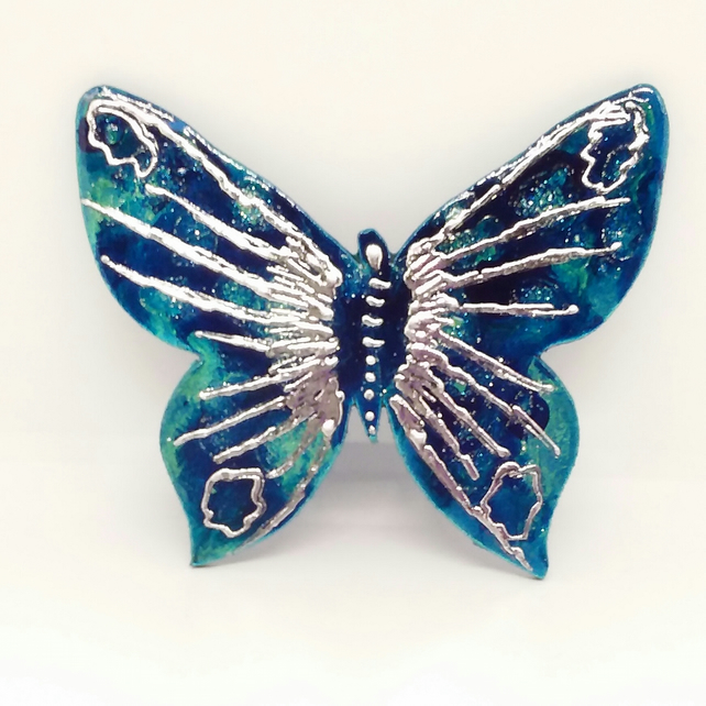 Butterfly fridge magnet in turquoise