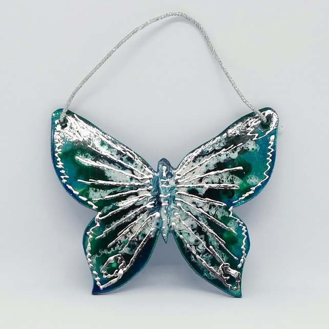Hanging butterfly decoration turquoise