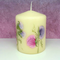 Hand painted sweetpea small pillar candle