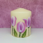 Hand painted tulip small pillar candle
