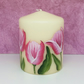 Hand painted tulip small pillar candle - dark pink