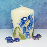 Hand painted Bluebell small pillar candle