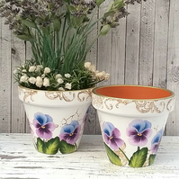 Flower pot - plant pot with hand painted pansy design