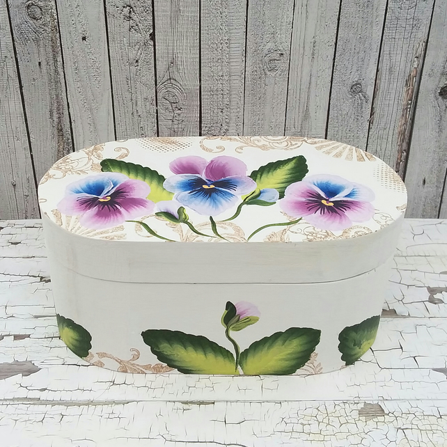 Trinket box pansy - hand painted