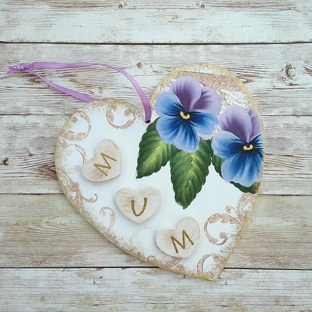 Hand painted heart shape Mum plaque - pansy