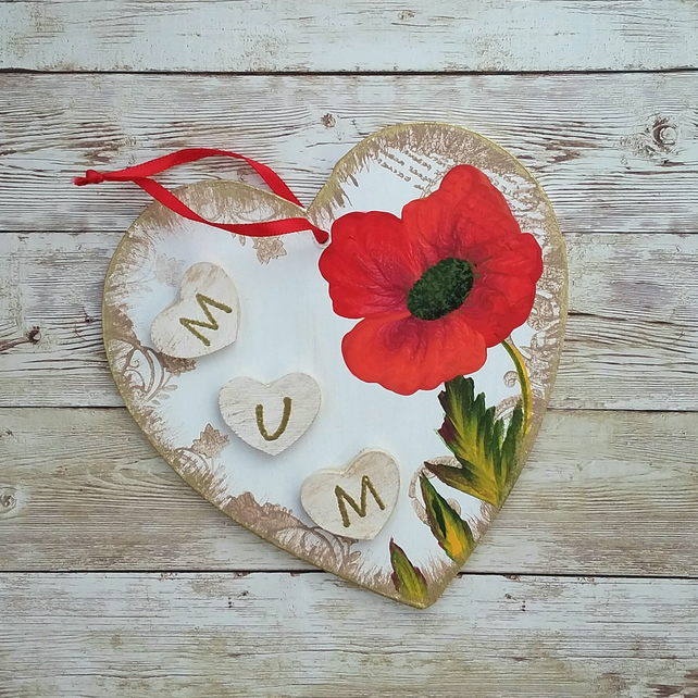 Hand painted heart shape Mum plaque - poppy
