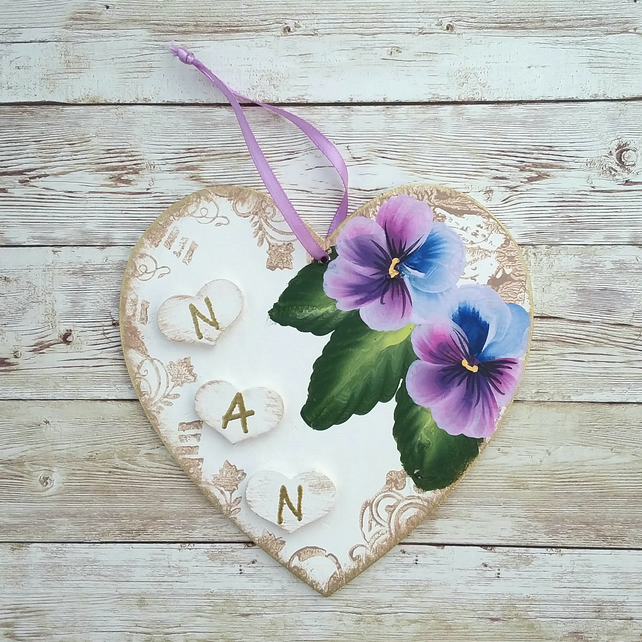 Nan - hand painted heart  plaque with pansies