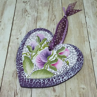 Hand painted sweet pea hanging heart