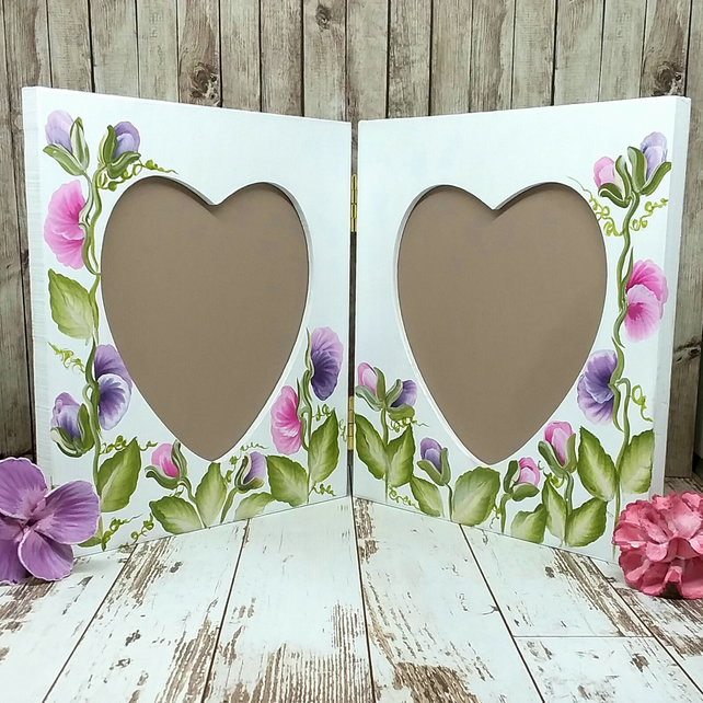 Sweet pea double frame hand painted