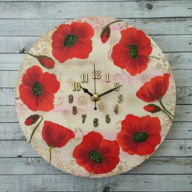 "Poppy clock 8"" round hand painted"