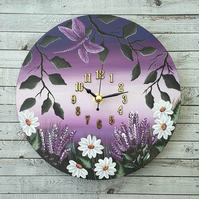 "Lavender & daisy clock 8"" round hand painted"