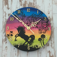 "Unicorn clock 8"" round hand painted"