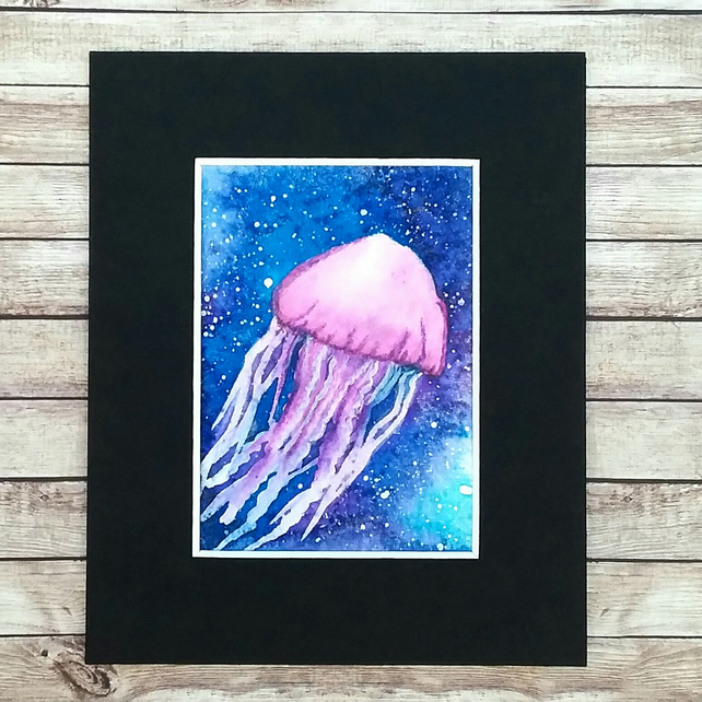 ACEO Jellyfish original waterclour with mica 016