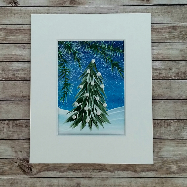 ACEO acrylic painting christmas tree midnight blues sky 009