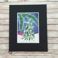 ACEO acrylic painting christmas tree 006
