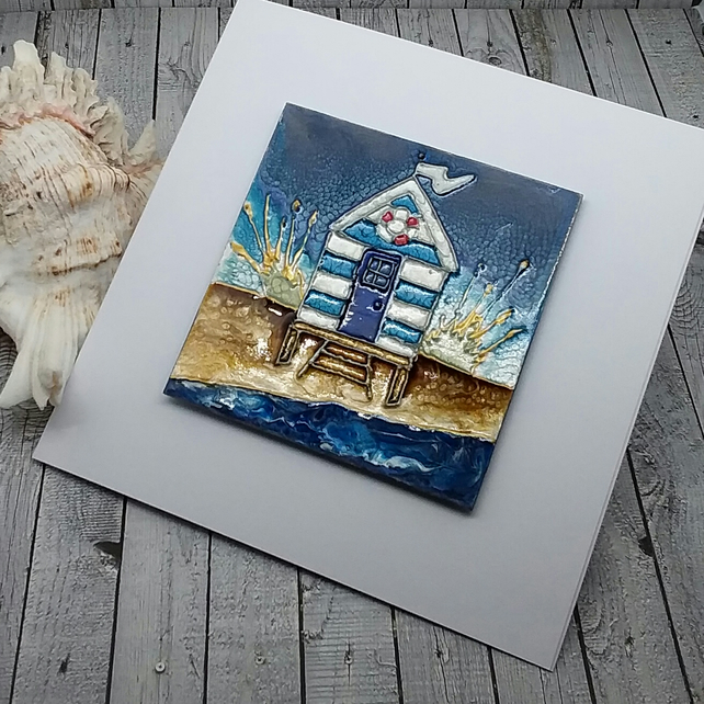 Mixed Media Art Magnet Greeting Card - Beach Hut