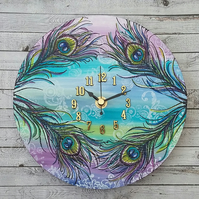 Clock - round with peacock feather design