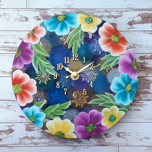 Wall Clock - round with tropical flower design hand painted
