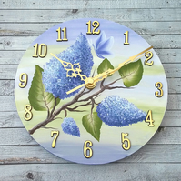 Wall Clock - round with hand painted lilac flowers