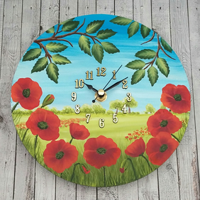 Wall Clock - round with hand painted poppy scene