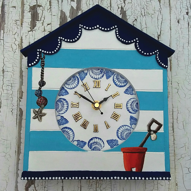 Beach hut clock wall hanging or free standing