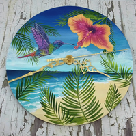 Tropical Paradise Hummingbird Wall Clock