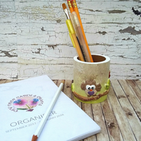 Owl Pencil or pen pot