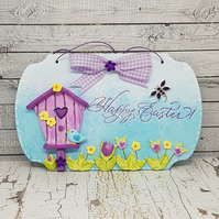 Easter hanging decoration with birdhouse