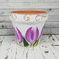 Tulip flower pot pink - plant pot with hand painted flowers