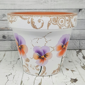 Pansy flower pot - plant pot with hand painted flowers