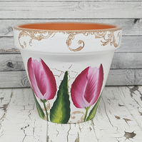 Tulip flower pot red - plant pot with hand painted flowers