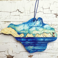 Hand painted hanging decoration: Isle of Wight the Needles