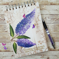 Buddleia Blank A5 Hand painted journal, sketch book, art journal, planner
