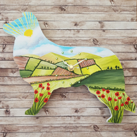 Border Collie clock hand painted with hillside farm scene