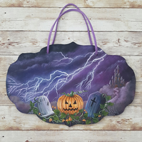 Pumpkin Hollow. Original Halloween Acrylic Painting