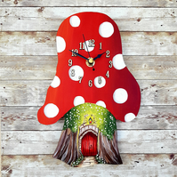 Toadstool clock red with fairy door hand painted.