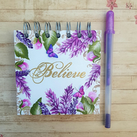 "Purple Floral Hand painted 4""x4"" Journal or Sketch Book"