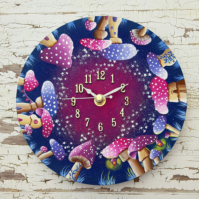 Magical Mushrooms Wall Clock - Made to order.