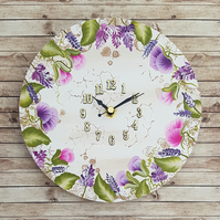 Sweet Pea Hand Painted Wall Clock