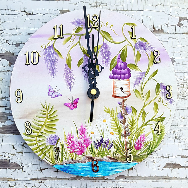 Bird House Garden Hand Painted Wall Clock