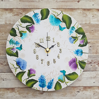 Sweet Pea Wall Clock - Peacock Colours