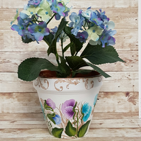 Sweet Pea in Peacock flower pot - plant pot with hand painted flowers