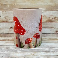 Red Magical Mushrooms Pen, Pencil or Brush Storage Pot. MADE TO ORDER