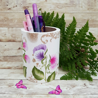 Sweet Pea Pen, Pencil, or  Brush Storage Pot - Made to order