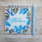 "Blue Floral Hand painted 4""x4"" Journal or Sketch Book"